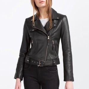 Zara Vegan Leather Black Moto Biker Jacket Size M
